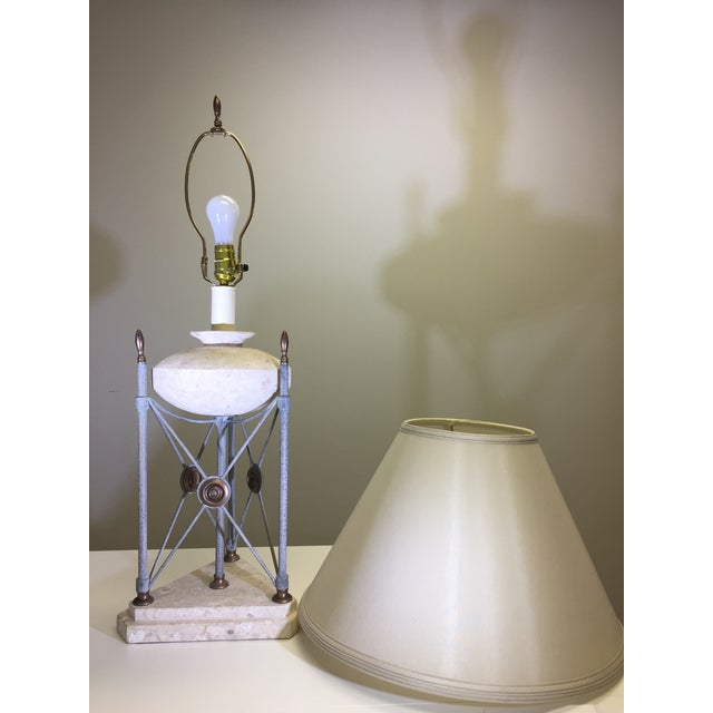 Rustic Frederick Cooper Triangle Pillar Table Lamp with Limestone Base For Sale - Image 3 of 4