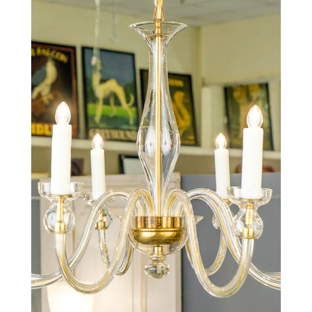 Murano Amber Glass Eight-Arm Chandelier For Sale - Image 4 of 11