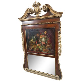 18thC Georgian Style Trumeau Mirror For Sale