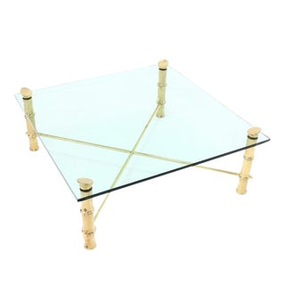 Mid-Century Modern Faux Bamboo Square Coffee Table For Sale