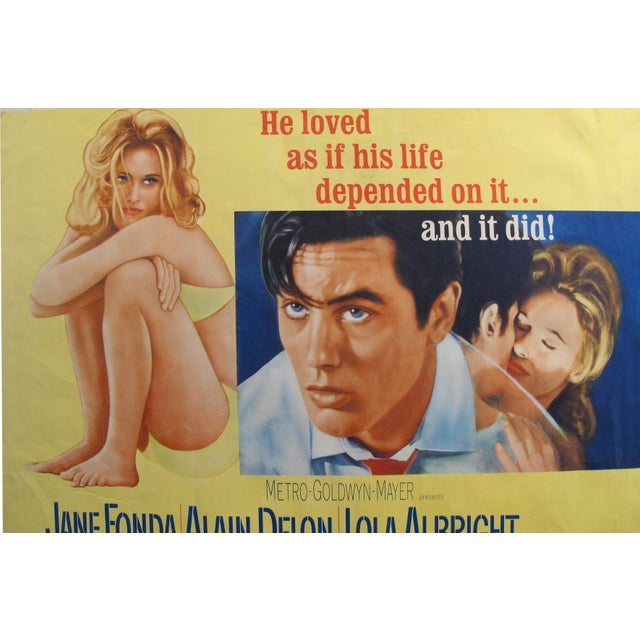 """French 1964 Original American Movie Poster - """"Joy House"""" (Les Félins) With Jane Fonda & Alain Delon For Sale - Image 3 of 7"""