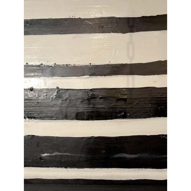 """Lynn Basa Encaustic Black and White Stripe Panel """"Doppleganger"""" 2013 For Sale - Image 9 of 12"""