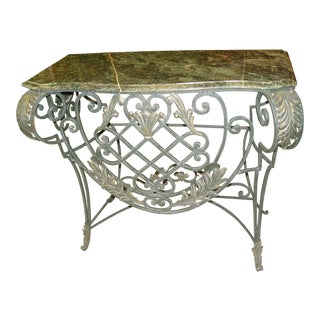 Traditional Iron and Marble Foyer Table For Sale