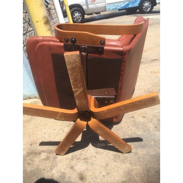 Vintage Teak & Leather Adjustable Lounge Chair - Image 8 of 8