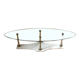 Mid Century Vintage Hollywood Regency Marble & Glass Coffee Table For Sale