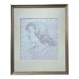 Antique Italian Drawing of a Woman For Sale