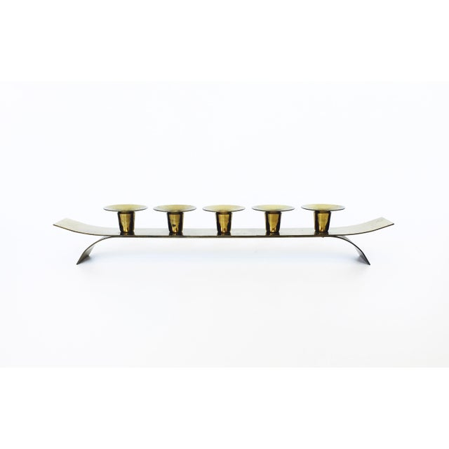 Mid Century Long Brass Candle Holder - Image 2 of 5