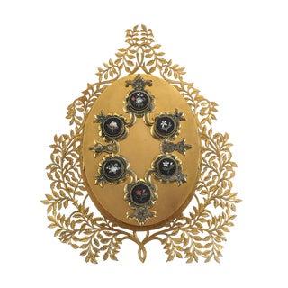 Mid 19th Century Italian Gilt Bronze & Pietra Dura Inlaid 3 Photo Picture Frame