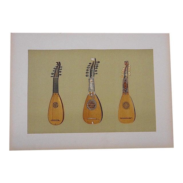Antique Lithograph Musical Instruments, Mandolins For Sale