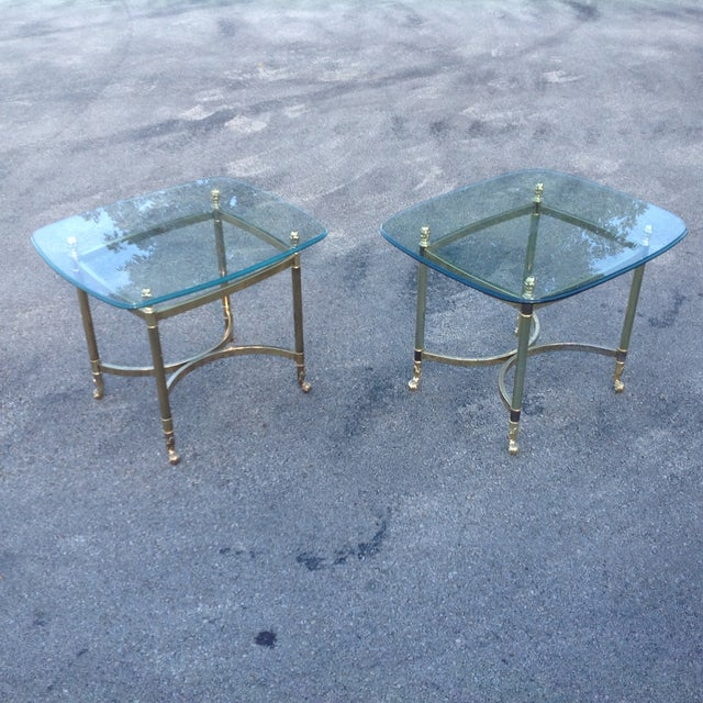Brass La Barge Hollywood Regency Side Tables a Pair - Image 4 of 6