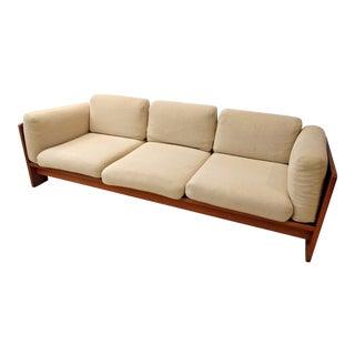 Vintage Mid-Century Danish Modern Bastiano Tobia Scarpa Knoll Walnut Sofa For Sale