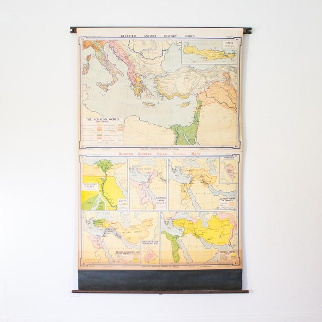 Yellow Vintage Pull Down Map of Oriental Empires | 1940s Industrial For Sale - Image 8 of 8