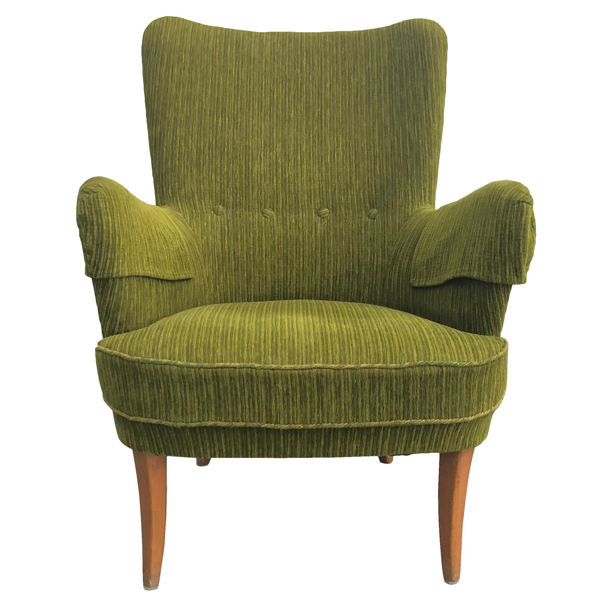 Fabric 20th Century Mid Century Swedish Modern Wingback Armchair For Sale    Image 7 Of