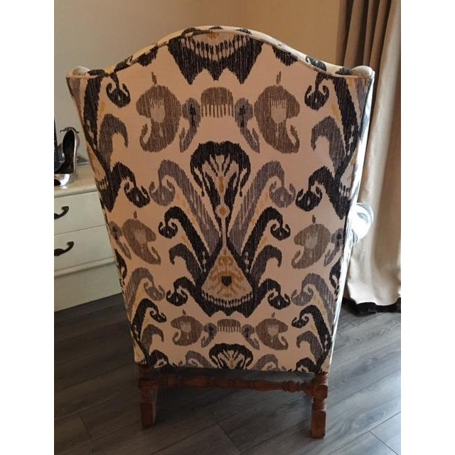 Antique Boho Ikat Wingback Chair - Image 6 of 6
