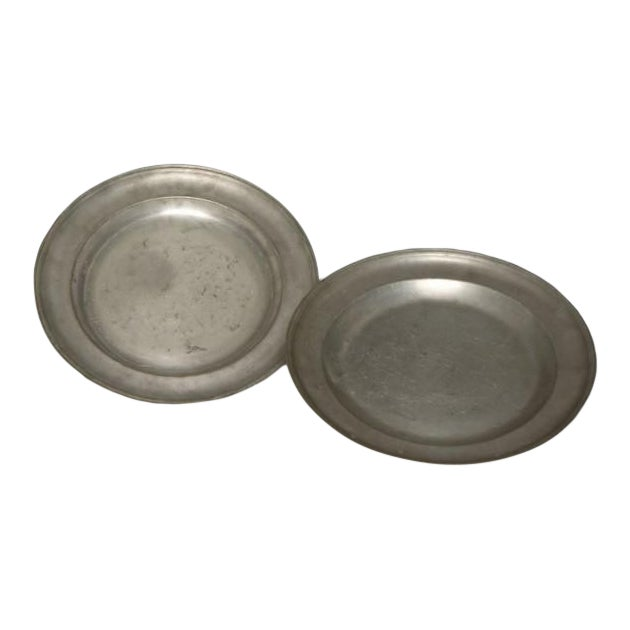 Pair of Large Pewter Chargers, England c.1820 For Sale
