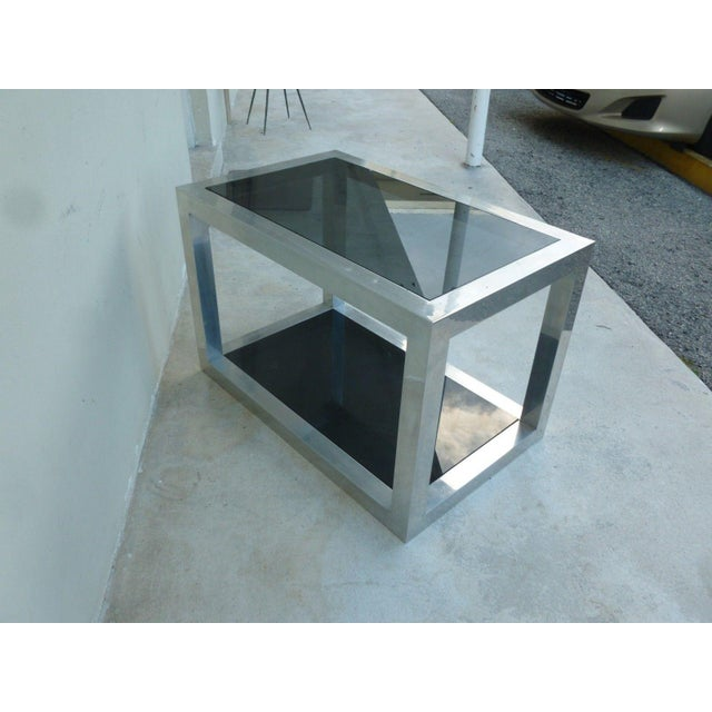 1970's Vintage Pace Style Aluminum Rectangular Table For Sale - Image 9 of 11