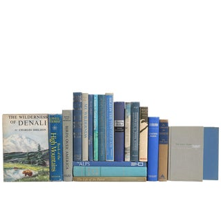 Outdoor Adventure Vintage Books in Blue & Tan - Set of 20