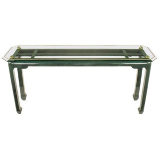 Heathered Green Ming Style Console Table With Beveled Glass Atop Brass Spheres For Sale