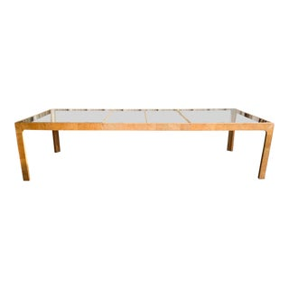 Burl Wood Parsons Style Dining Table by Henredon, 1970s For Sale