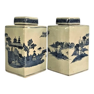Square Chinese Blue & White Porcelain Lidded Jars - A Pair