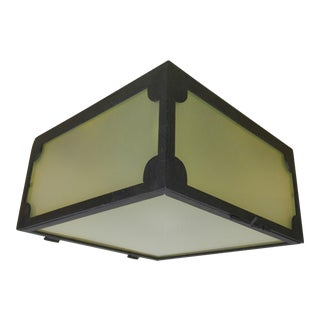 Reborn Lighting Custom Black Iron Finish & Frosted Glass Square Flush Mount Fixture For Sale