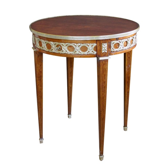 Elegant French Louis XVI Style Mahogany Circular Side Table With Brass Mounts For Sale