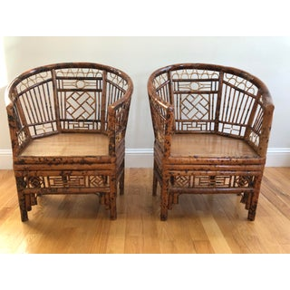 Vintage Chinoiserie Chippendale Brighton Pavilion Burnt Bamboo Armchairs - a Pair Preview