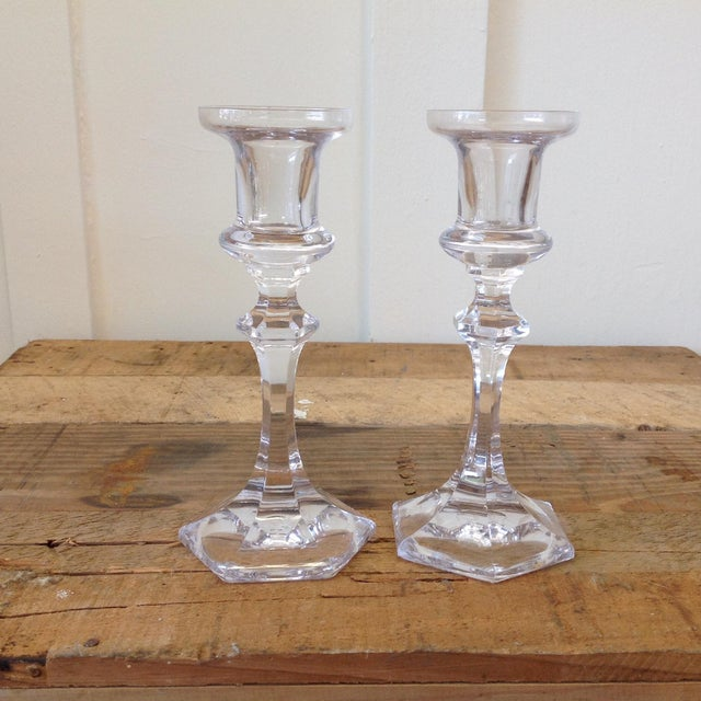 French Crystal Candle Holders- A Pair - Image 3 of 9