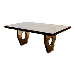 1970s Vintage French Smoked Lucite Coffee Table For Sale