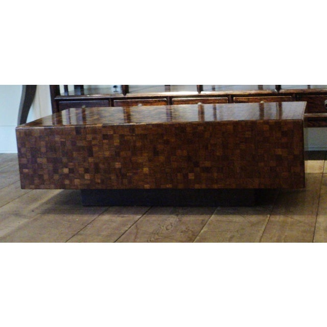 Mid-Century Modern Patchwork Wood Coffee Table - Image 11 of 11