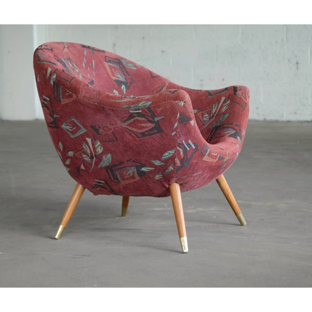 Textile 1960's Italian Lounge Chair in the Style of Gio Ponti Ca. For Sale - Image 7 of 13