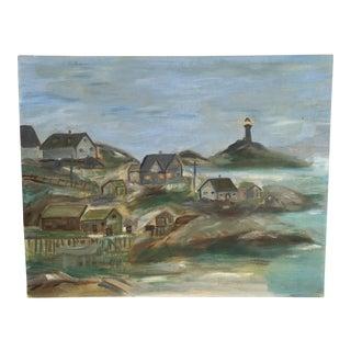 Vintage Cape Cod Lighthouse Seascape Original Oil on Board Painting For Sale