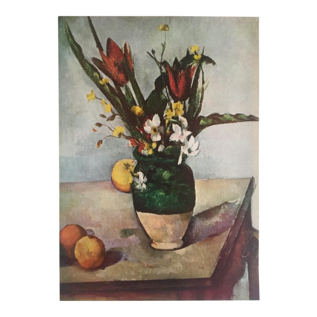 "Paul Cezanne Rare Vintage 1952 Post Impressionist Authentic Lithograph Print "" Tulips and Apples "" 1890 For Sale"