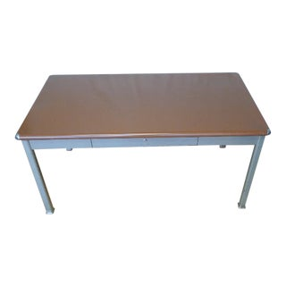 Mid Century Industrial Steel Table Desk by Shaw Walker With One Drawer, Formica Top and Steel Corner Bumpers. Excellent Condition. For Sale