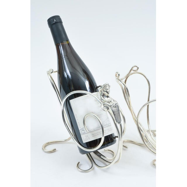 Metal English Silver Plated Spinx Barware Wine Bottle Holder For Sale - Image 7 of 10