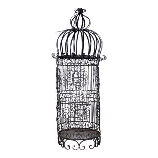 Vintage French Wrought Iron Hanging Dome Bird Cage For Sale