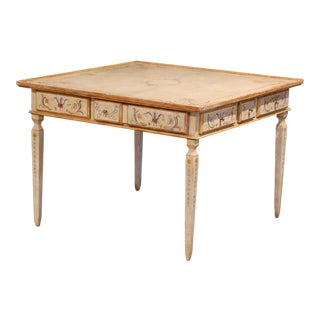 Early 20th Century Italian Neoclassical Painted Square Game Table With Drawers For Sale