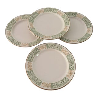 Vintage Green & Gold Homer Laughlin Dinner Plates - Set of 4 For Sale