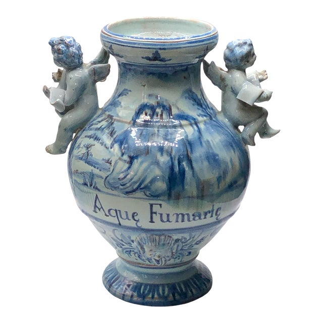 Antique Majolica Italian Urn For Sale