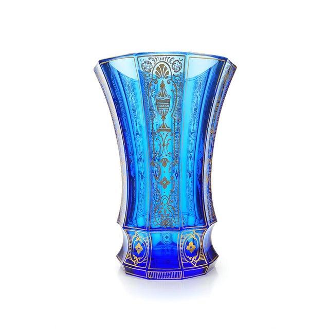 Antique Bohemian Blue Glass Vase Gold Etchings Chairish