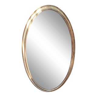 Antiqued Borghese Finish Oval Mirror For Sale