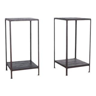 Industrial Belgian Pedestal Tables - a Pair For Sale