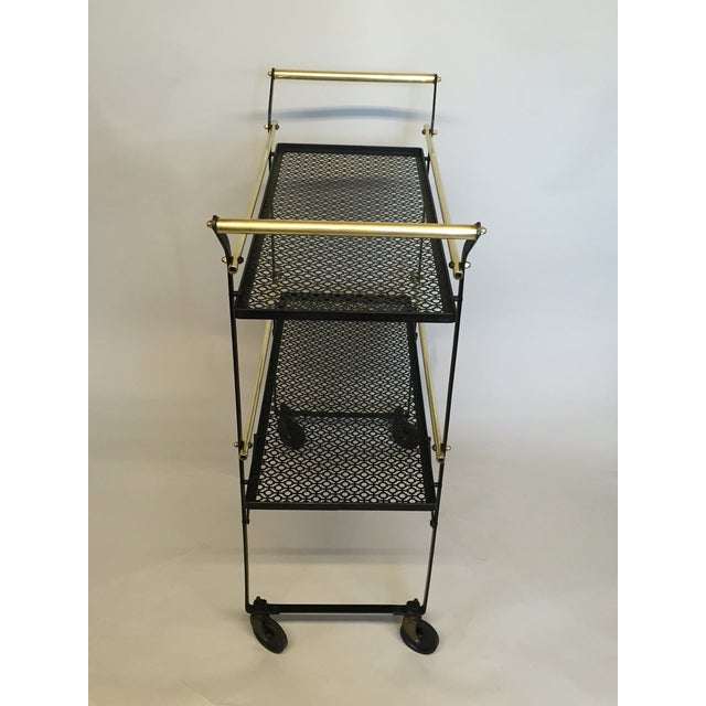 Smart French Black Metal and Brass Bar Cart - Image 4 of 4