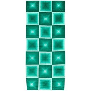 "Vintage Mid-Century ""Quadrat"" Verner Panton Textile Green Rug - 3′10″ × 8′9″ For Sale"
