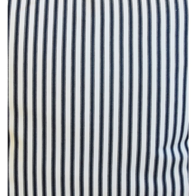 """French Black & White Striped Ticking Feather/Down Pillows 23"""" Square - Pair For Sale - Image 4 of 10"""