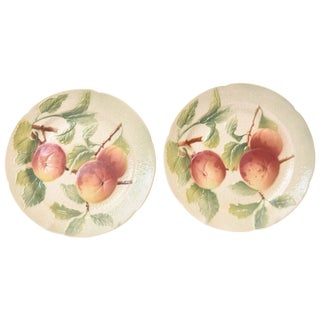 Pair of Antique French Majolica Fruit Plates For Sale