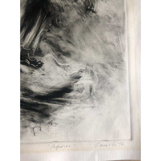 """Aquatint dated 1976 and titled """"Figures."""" It is signed illegibly."""