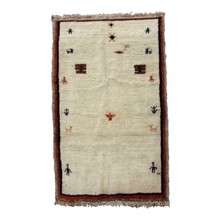 1980s, Handmade Vintage Persian Gabbeh Rug 3.6' X 6' For Sale