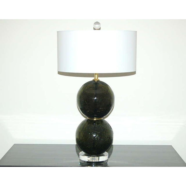 Hollywood Regency Vintage Murano Craquele Glass Table Lamps Green For Sale - Image 3 of 9