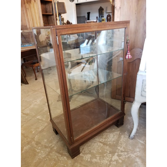 Art Deco Antique Mahogany Display Case Cabinet For Sale - Image 3 of 9